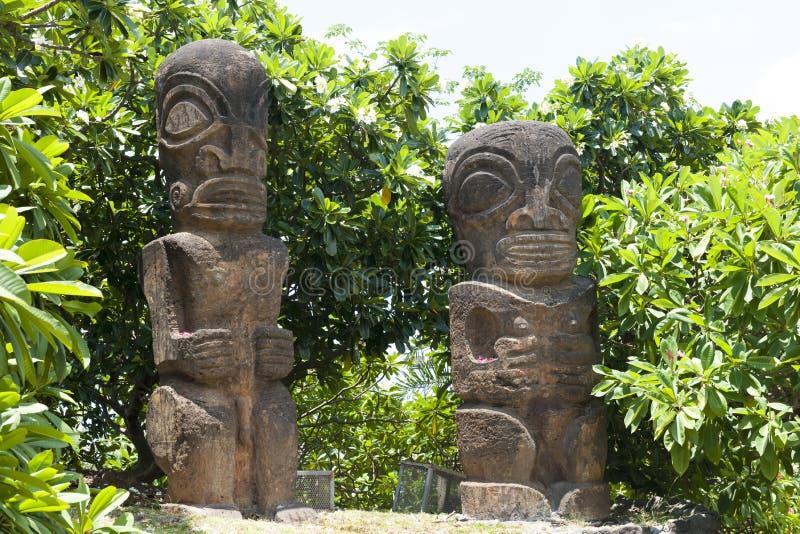 Statues Tahiti Island. Two statues (replica) in Tahiti, French Polynesia, Pacufic Ocean stock photo