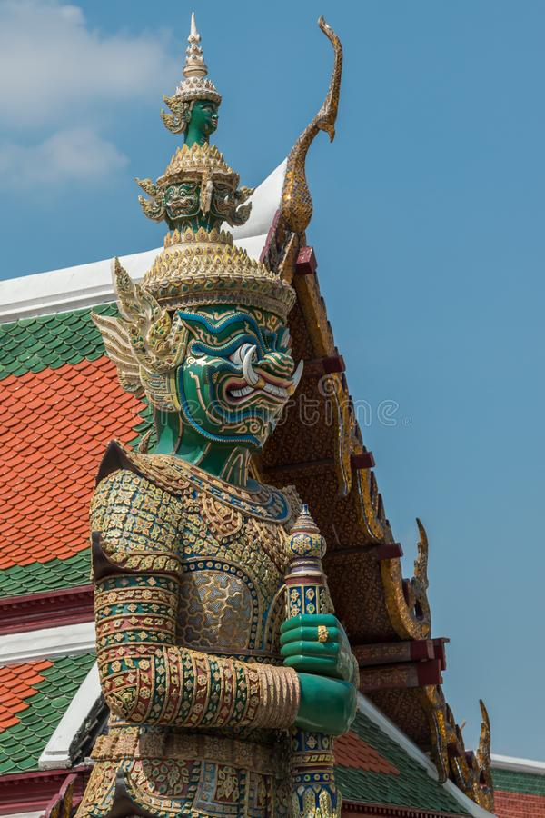 Statues, temples and stupa inside the Grand Palace in Bangkok, Thailand, home of the Thai Royal Family royalty free stock photography