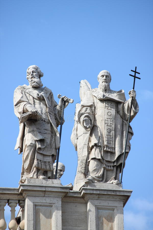 Statues on the top of Saint John Lateran Basilica royalty free stock images