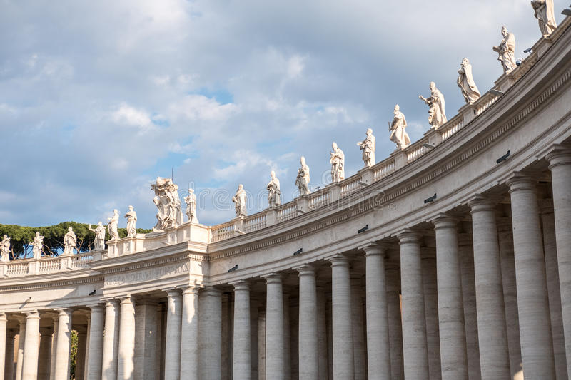 Statues on the top of St Peter`s Basilica royalty free stock photos