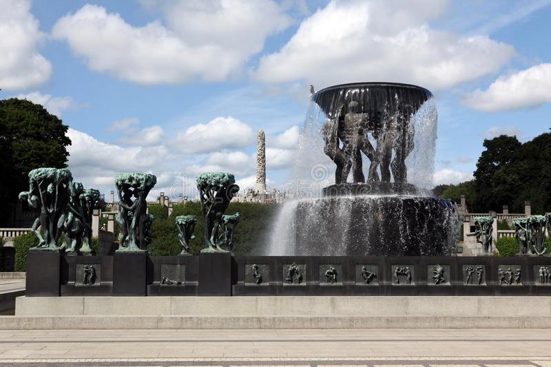 Statues in Vigeland park in Oslo, Norway. The park covers 80 acres and features 212 bronze and granite sculptures created by Gustav Vigeland stock image