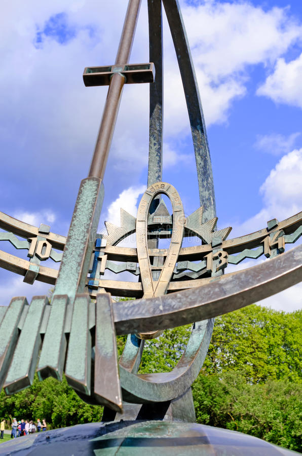 Statues in Vigeland park in Oslo sundial details stock photography