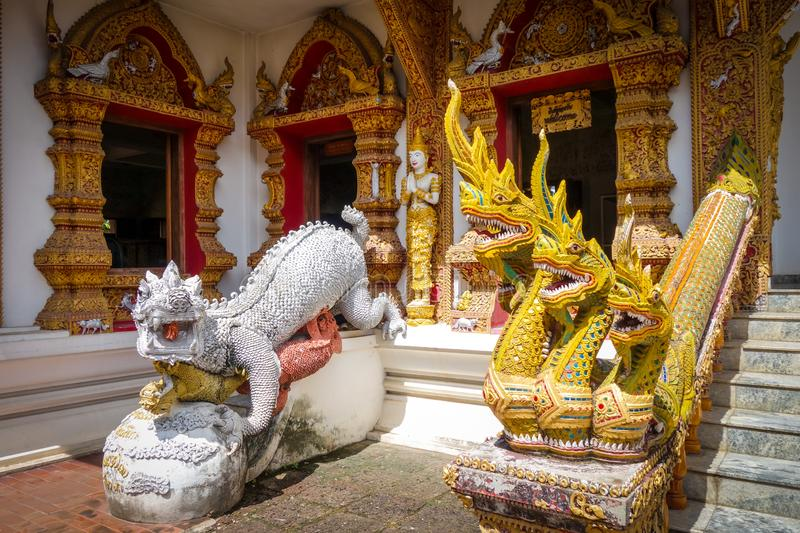 Statues in Wat Buppharam temple, Chiang Mai, Thailand royalty free stock photo