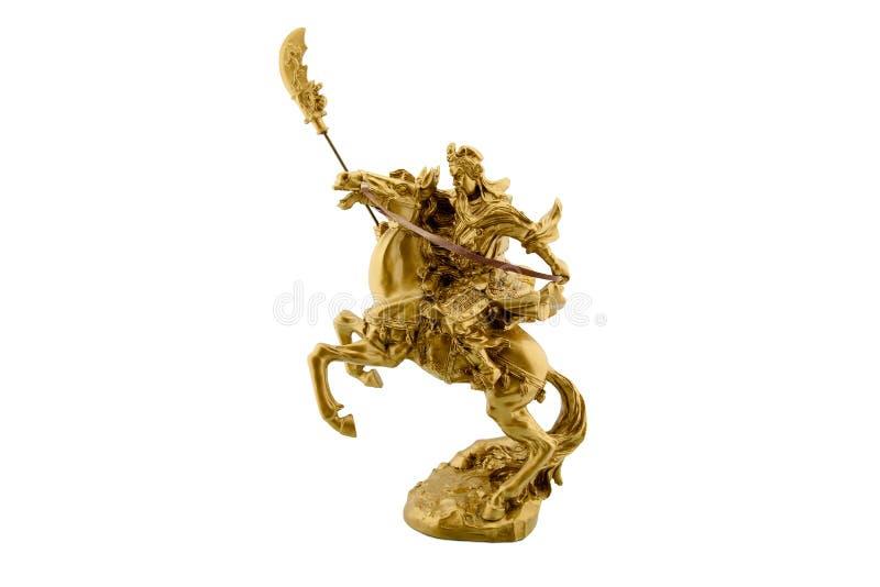 Statuetta della guida cinese leggendaria di generale Guan Yu sulla a a cavallo fotografia stock