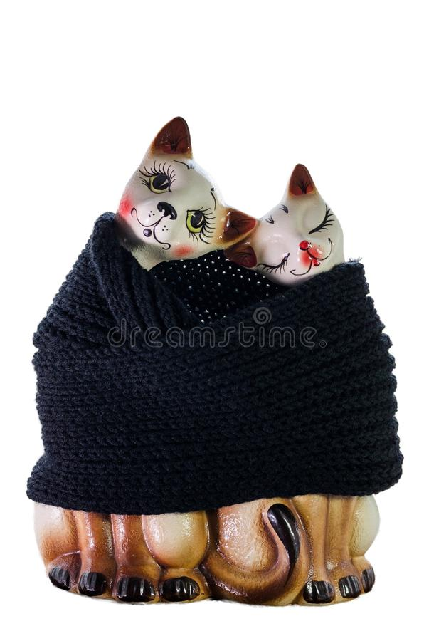 Statuette της γάτας και της γάτας σε ισχύ στοκ φωτογραφία με δικαίωμα ελεύθερης χρήσης