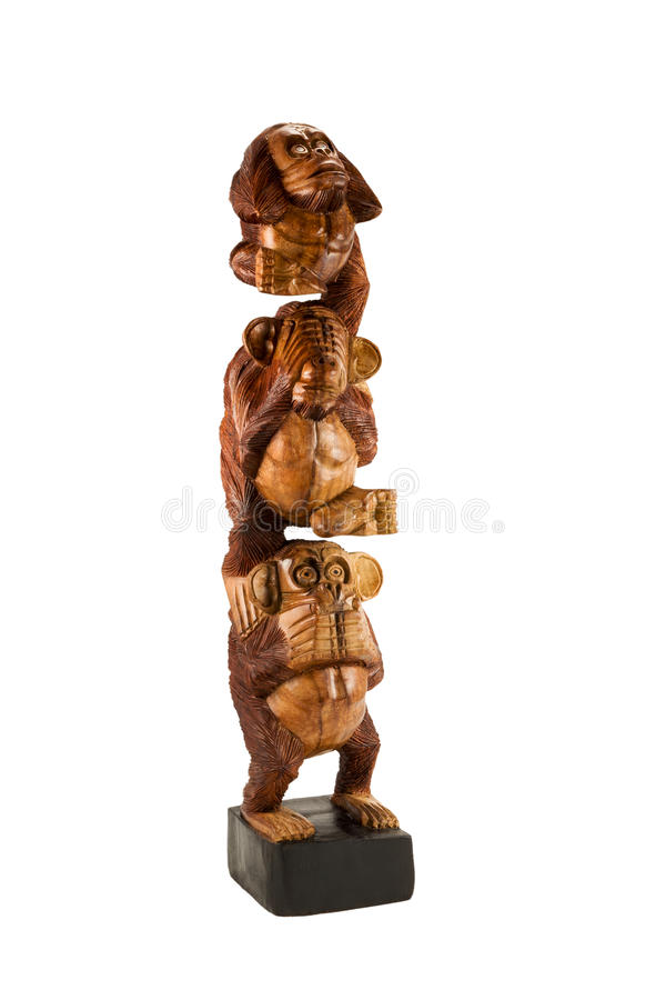 Statuette de trois singes images libres de droits