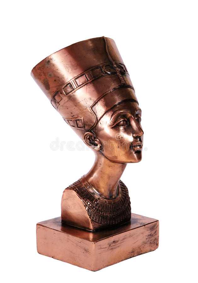 Statuette of Egyptian Queen Nefertiti on white background stock image