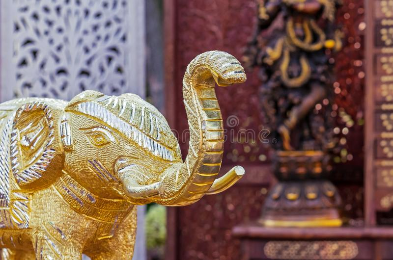 Statuette of an Indian elephant. Bronze figurine of an elephant.  stock image