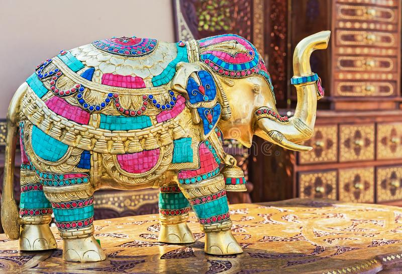 Statuette of an Indian elephant. Bronze figurine of an elephant.  royalty free stock photography