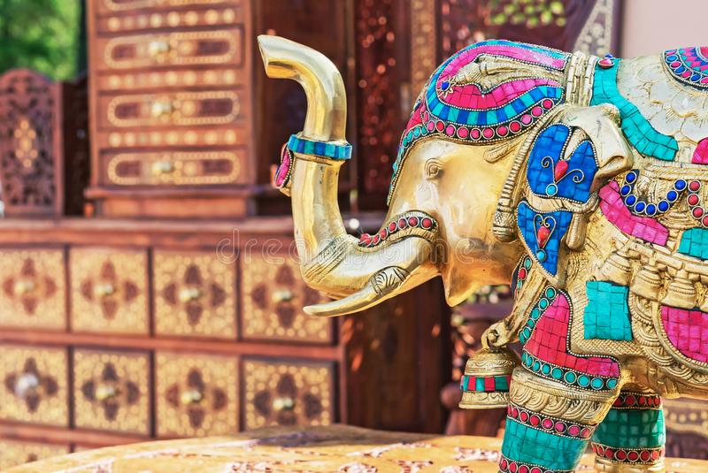 Statuette of an Indian elephant. Bronze figurine of an elephant. stock photo