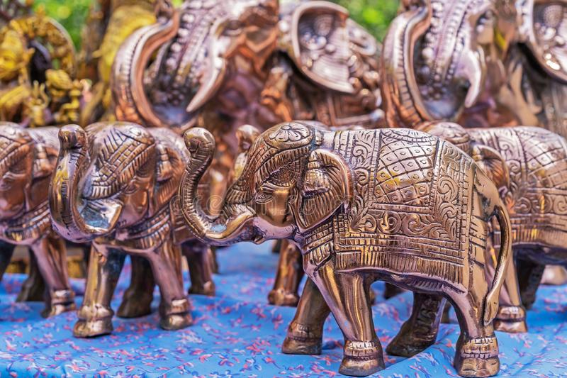Statuette of an Indian elephant. Copper figurine of an elephant.  royalty free stock image