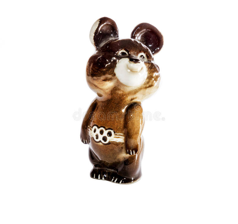 Statuette of Olympic bear Olympics 1980 in Moscow. On a white background royalty free stock images