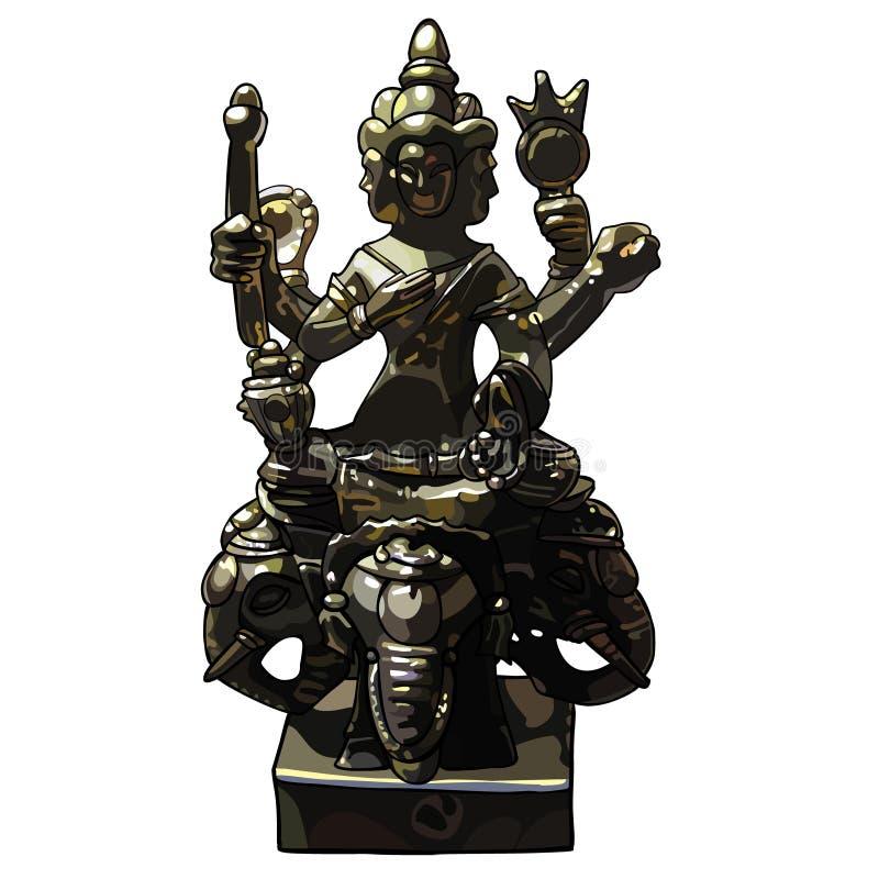 Statuette vier stellen Buddha gegenüber, der viel-bewaffnet ist und sitzen auf Elefanten stock abbildung