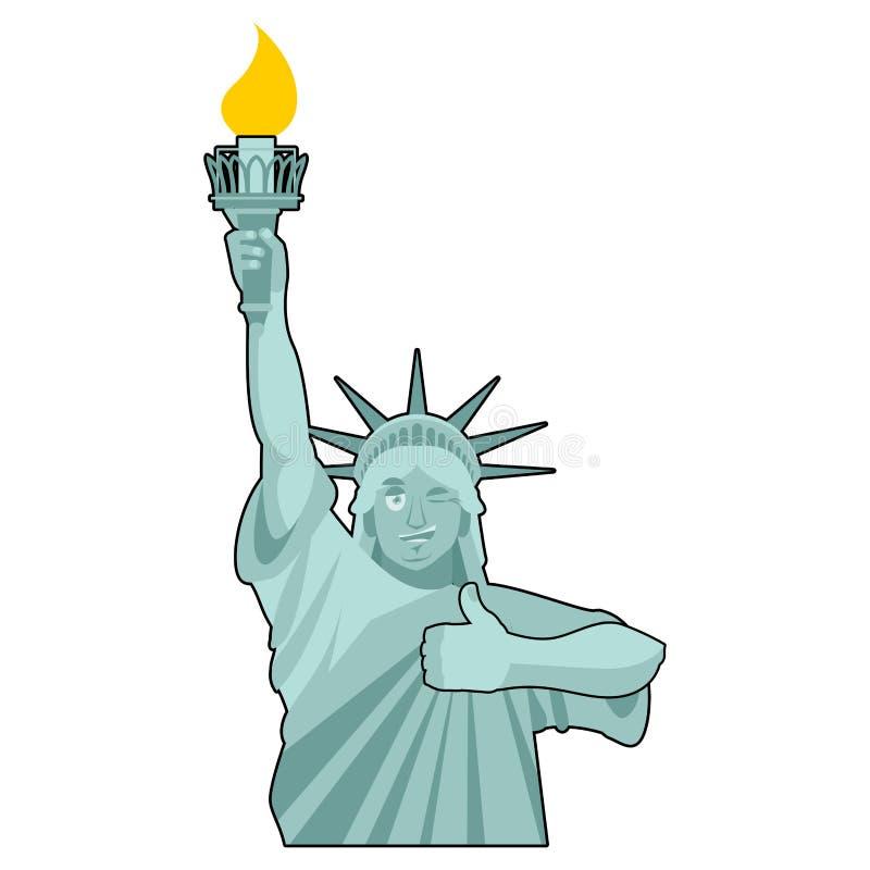 Statui Wolności mrugnięcia aprobata punkt zwrotny Ameryka rzeźba ilustracja wektor