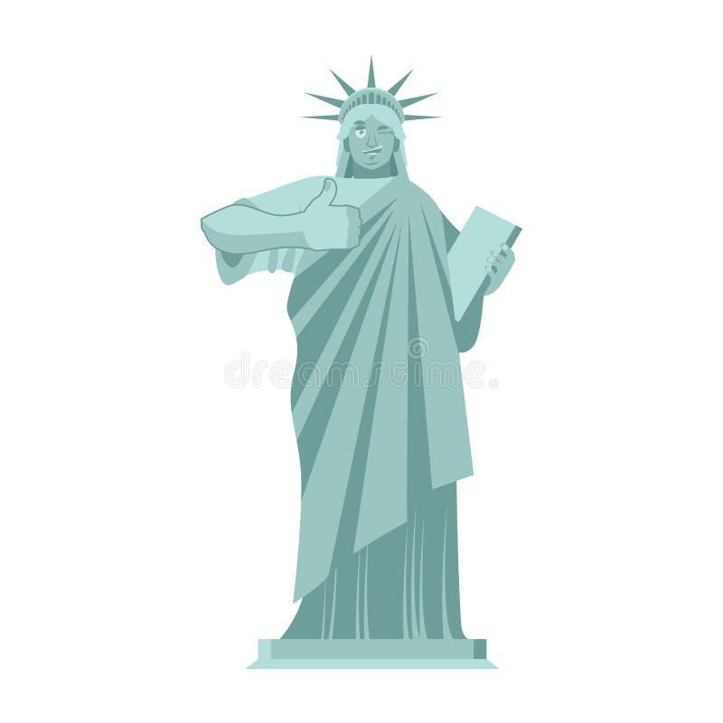 Statui Wolności mrugnięcia aprobata punkt zwrotny Ameryka rzeźba royalty ilustracja