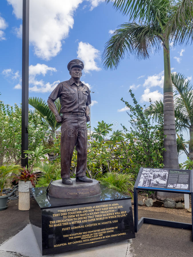 Stature of Admiral Nimitz. OAHU, HI - AUG 5, 2016: Stature of Admiral Nimitz at the USS Missouri on August 5, 2016 in Pearl Harbor, USA. He played a major role stock photo