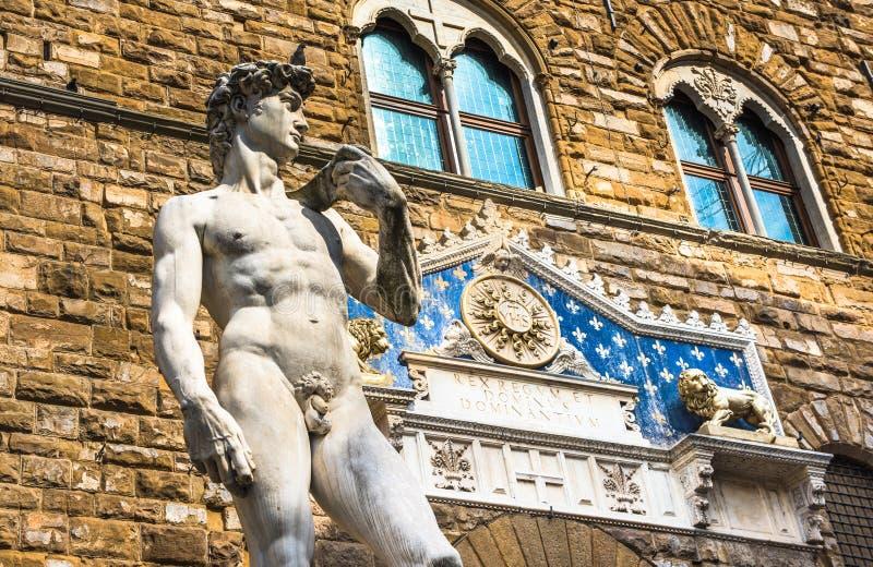 Stature of David by Michelangelo in Piazza Della Signoria, Florence, Italy stock image