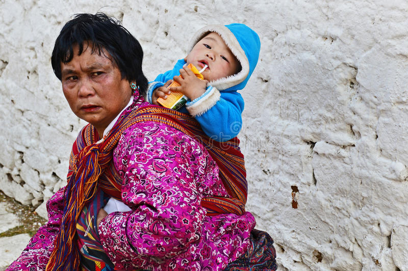 Status av kvinnor i Bhutan royaltyfri bild