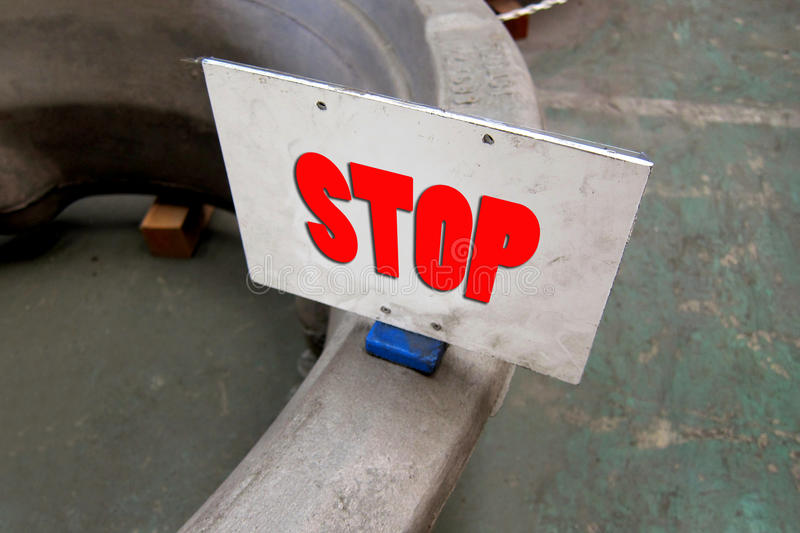 Status Label. STOP (Wait product) status label magnet on the workpiece in the factory for identify royalty free stock images
