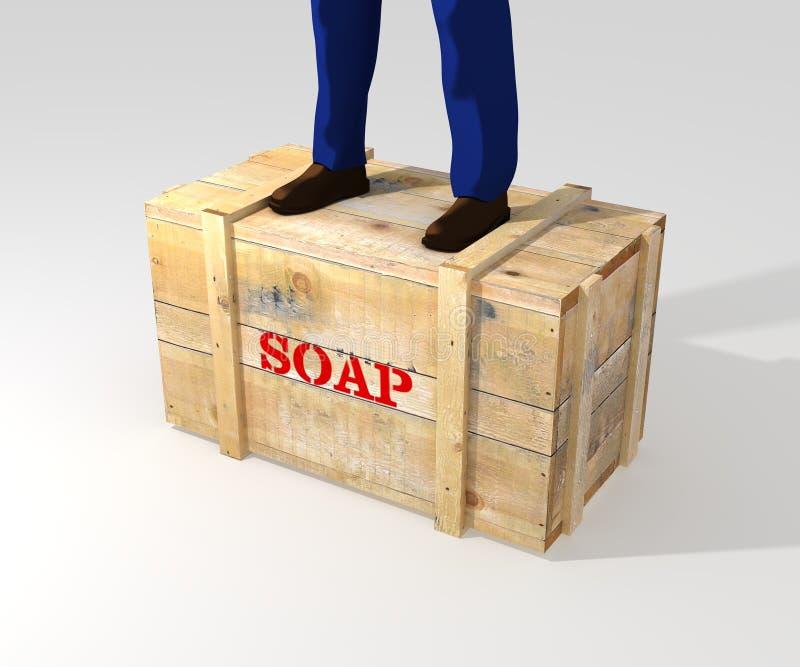 Status op soapbox royalty-vrije illustratie