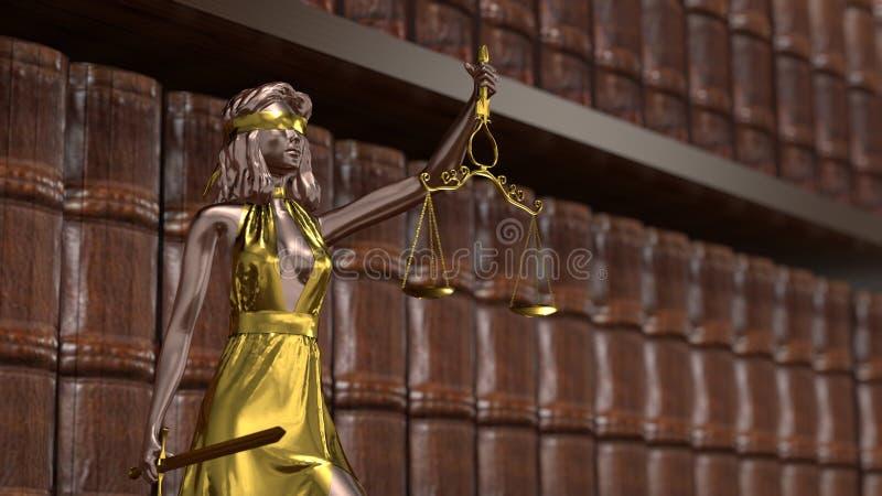 Status van Justitie, Themis, Femida met schalen en een zwaard in zijn handen 3D-rendering vector illustratie