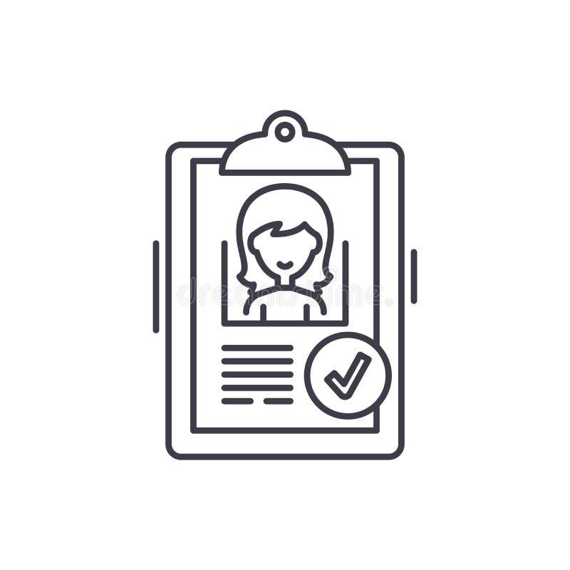 Status zatwierdzający kreskowy ikony pojęcie Status zatwierdzająca wektorowa liniowa ilustracja, symbol, znak royalty ilustracja