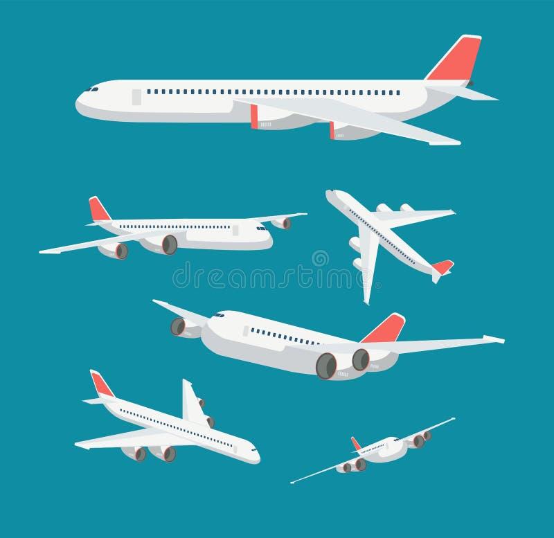 Statusu płaski samolot w różnorodnym punkcie widzenia Cywilnego samolotu podróż i lotnictwo wektorowi symbole odizolowywający ilustracja wektor