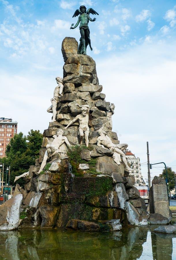 Statuto quadrieren, Turin, Piemont, Italien stockfotos
