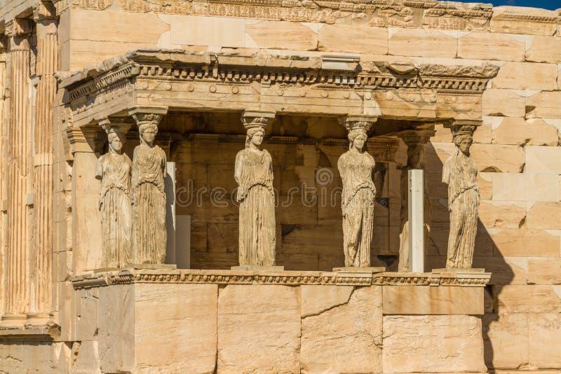 Statuy ganeczek kariatydy na akropolu obrazy stock