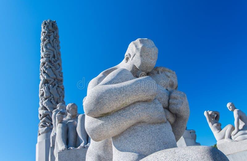Statuy przy Frogner Parkowy Oslo Norwegia obrazy royalty free