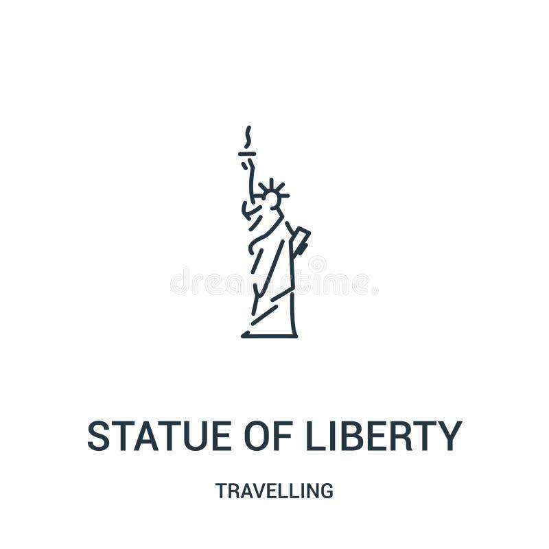 statuy wolności ikony wektor od podróżnej kolekcji Cienka kreskowa statua wolności konturu ikony wektoru ilustracja liniowy royalty ilustracja