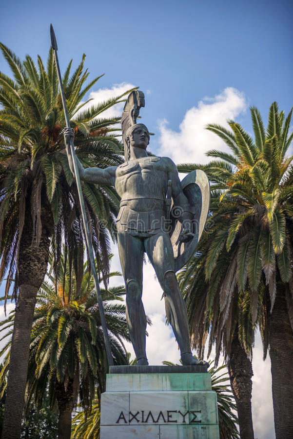 Staty av Achilles i Korfu, Grekland royaltyfri bild