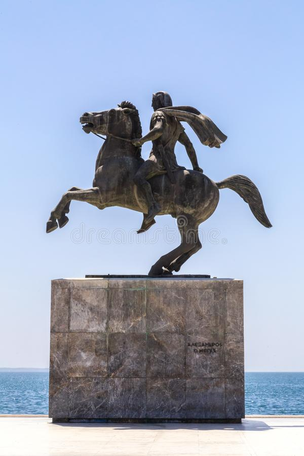 Staty av Alexander det stort av Macedon på kusten av Thessaloniki, Gr royaltyfria foton