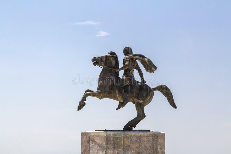 Staty av Alexander det stort av Macedon på kusten av Thessaloniki royaltyfri bild