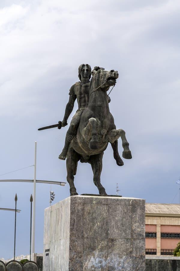 Staty av Alexander det stort av Macedon på kusten av Thessaloniki royaltyfri foto