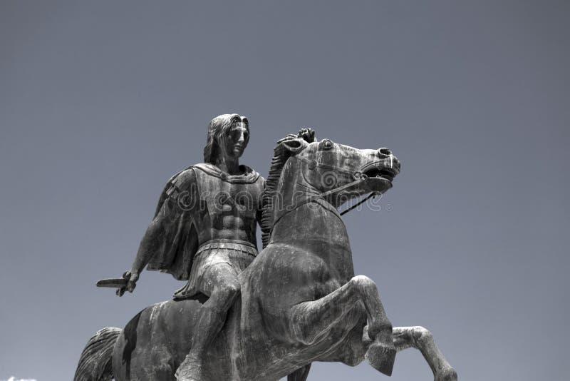 Staty av Alexander det stort av Macedon på kusten av Thessaloniki royaltyfria bilder