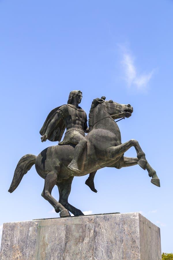 Staty av Alexander det stort av Macedon på kusten av Thessaloniki arkivfoto
