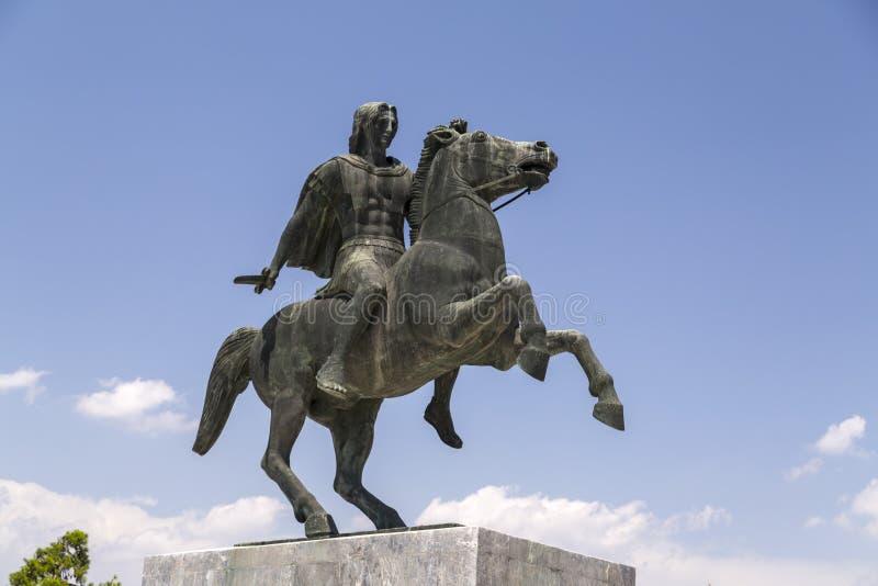 Staty av Alexander det stort av Macedon på kusten av Thessaloniki arkivbilder