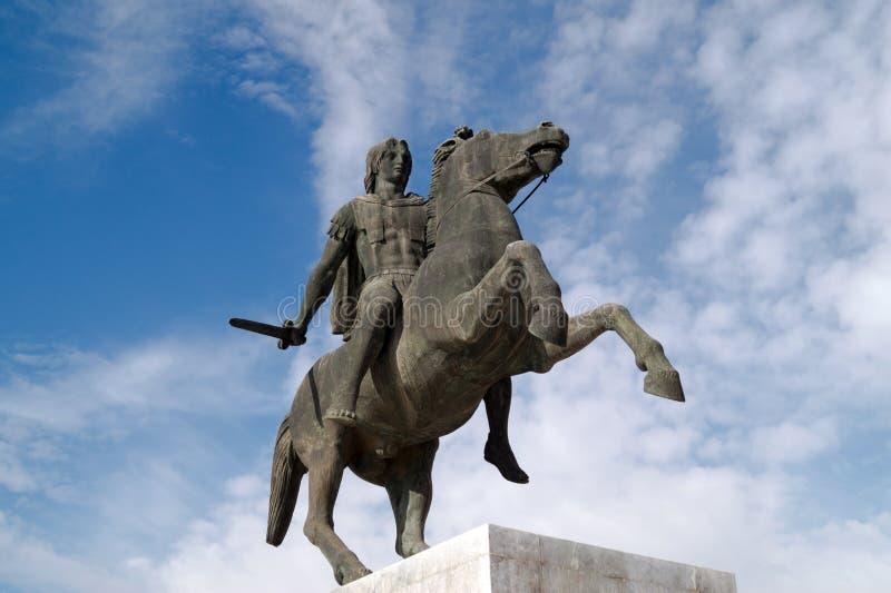 Staty av Alexander det stort på den Thessaloniki staden royaltyfria bilder