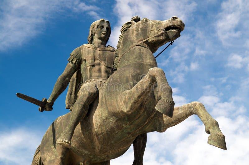 Staty av Alexander det stort på den Thessaloniki staden royaltyfri foto