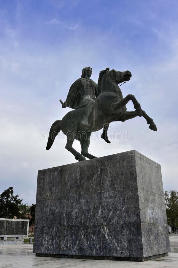 Staty av Alexander The Great, Thessaloniki, royaltyfria foton