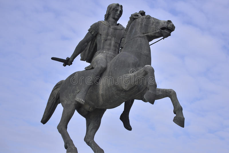 Staty av Alexander The Great, Thessaloniki, Grekland royaltyfri foto