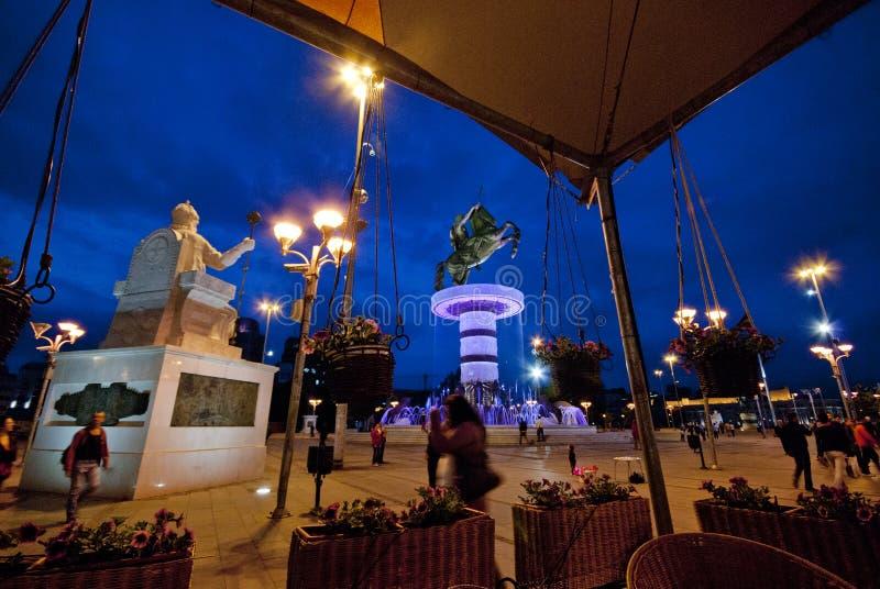Staty av Alexander storen i Skopje arkivfoton