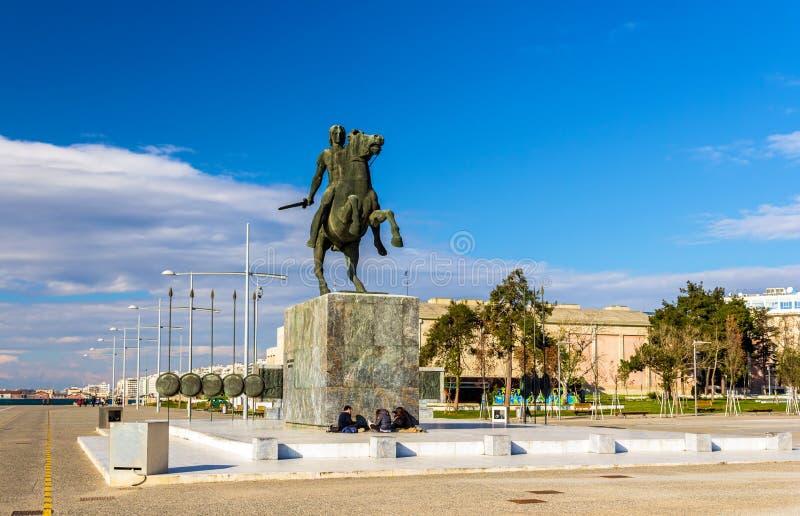 Staty av Alexander storen i Thessaloniki arkivfoto