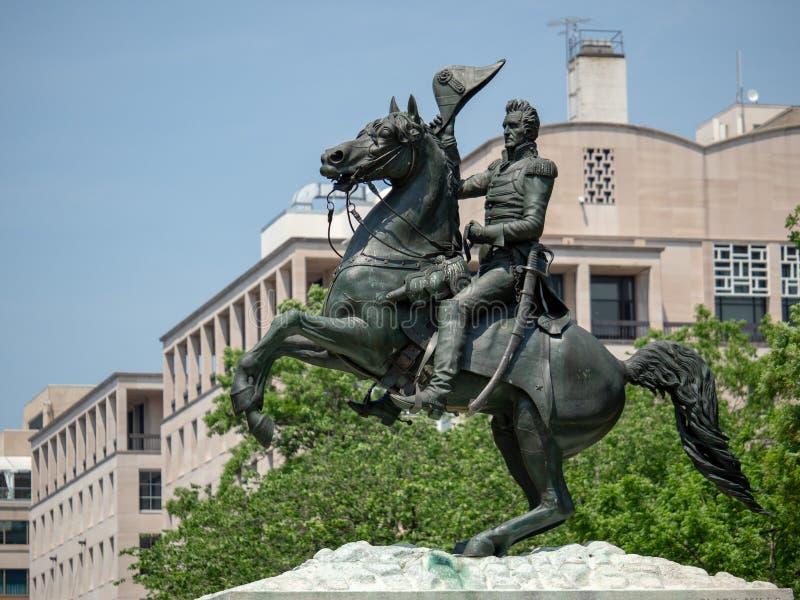 Staty av Andrew Jackson från striden av New Orleans i Lafay royaltyfri fotografi