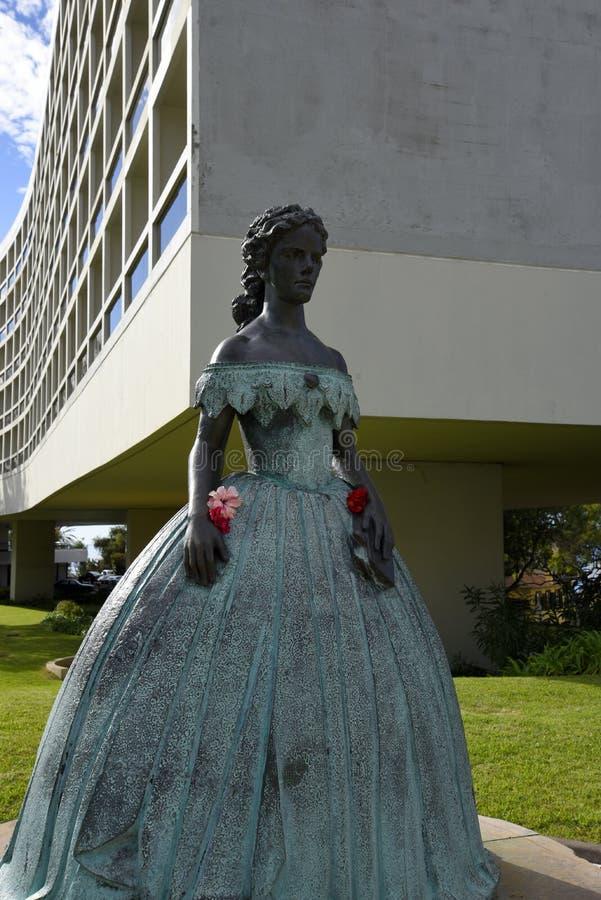 Staty av Austro den ungerska kejsarinnan Elizabeth i den Funchal madeiran arkivfoton