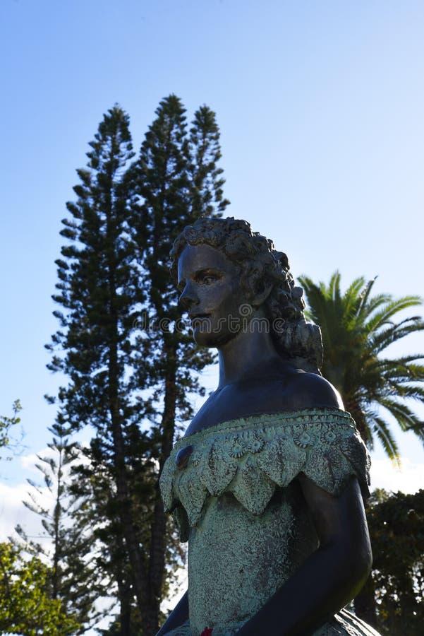 Staty av Austro den ungerska kejsarinnan Elizabeth i den Funchal madeiran arkivbilder