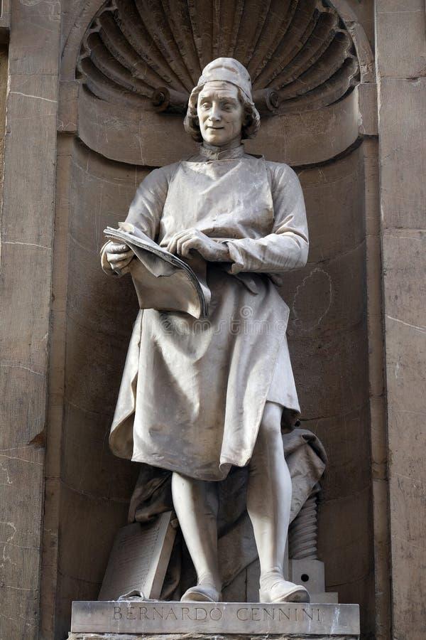 Staty av Bernardo Cennini, den italienska guldsmeden, skulptören och skrivaren, Loggia del Mercato i Florence fotografering för bildbyråer
