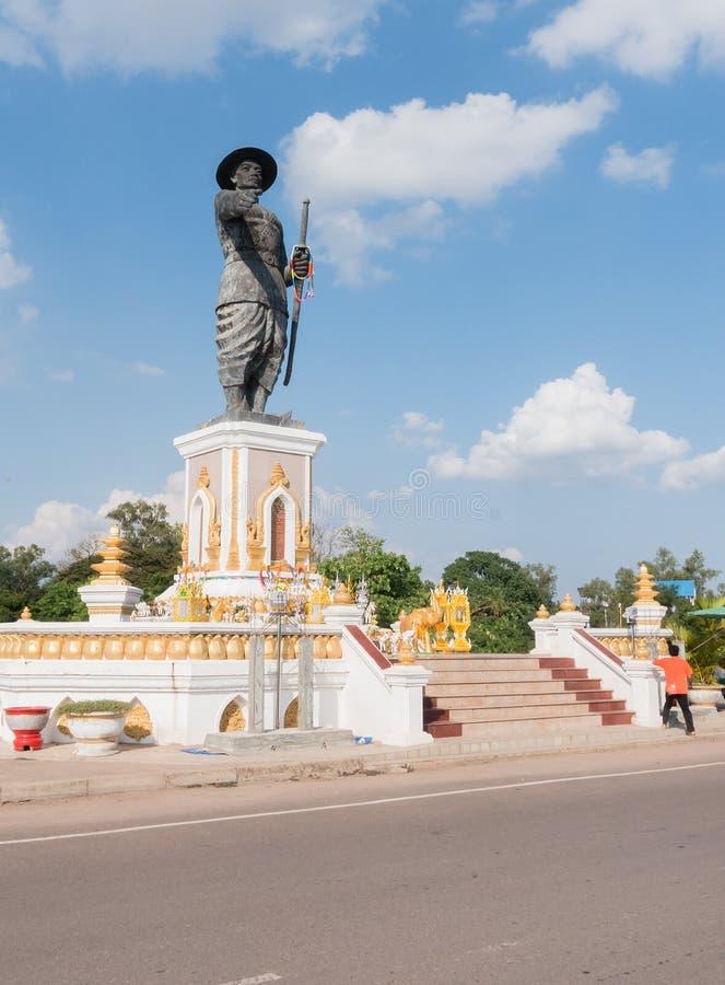 Staty av Chao Anauo, konung Anu, Vientiane, Laos arkivfoton