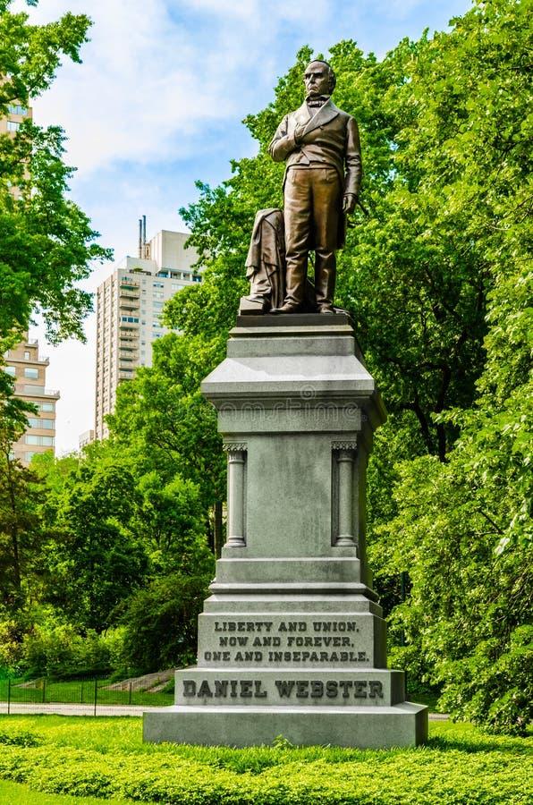Staty av Daniel Webster i Central Park New York royaltyfri fotografi